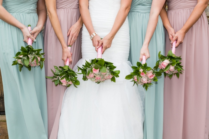 Birde bridesmaids flowers wilthire wedding photographer